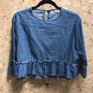 Zoya denim ruffle blouse